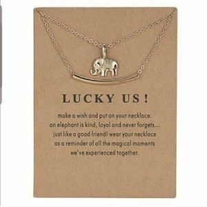 "Gold ""Lucky Us!"" Elephant/Bar Necklace"